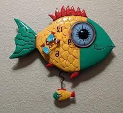 Allen Designs  #P8056 Wide Eyed Fishy Pendulum Wall Clock Fi