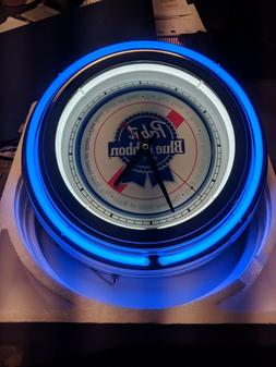 Pabst Blue Ribbon PBR Double Neon Wall Clock Great For Garag