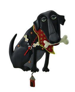 Allen Designs Parker the Dog Black Pendulum Wall Clock 13 in
