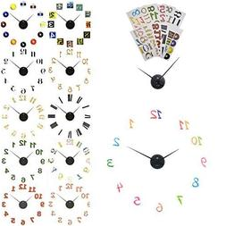 NEW DIY Peel & Stick Wall Clock w/ 12 Number Sets Fun Deco D