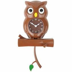 Pendulum Movement Novelty Kids Owl Wall Clock Decor Swinging