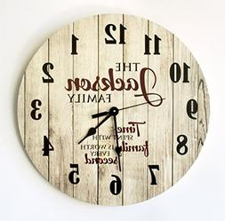 "Personalized Rustic Wood Print Clock 18"" Diameter"