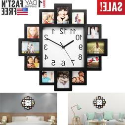 Photo Frame Clock Picture Collage 12-P Display Wall Clock Ph
