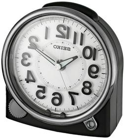 Seiko ' Bedside Alarm' Plastic Clock, Color:Black