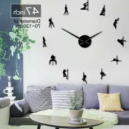 Pole Dance Frameless 3D DIY Moder Design Wall Clock Decorati