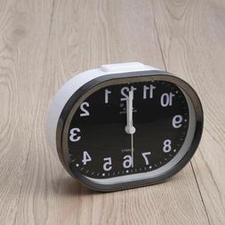 Portable Cute Round Battery Alarm Clock Desktop Table Bedsid