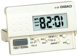 Casio Pq10-7r Travel Alarm Clock Led Light, White Color