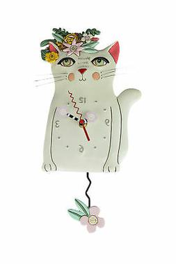 Allen Designs Pretty Kitty White Floral Cat Pendulum Wall Cl