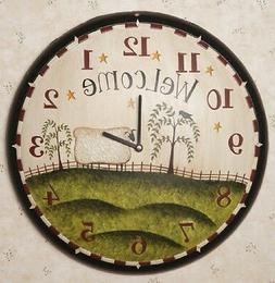PRIMITIVE/COUNTRY WELCOME GRAZING SHEEP WOOD WALL CLOCK