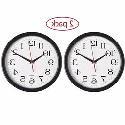 Products - Black Wall Clocks, 2 Pack Silent Non Ticking Qual