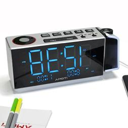 iTOMA Projection Alarm Clock with FM Radio,Dual Alarm Clock,