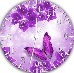 """Purple Butterfly wall Clock 10"""" will be nice Gift and Room w"""