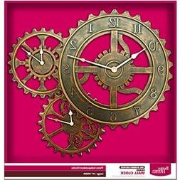 "Better Homes and Gardens 24"" QA Gear Wall Clock, Bronze"