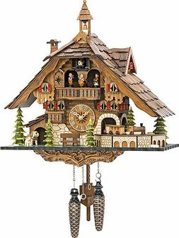 Quartz Cuckoo Clock Black Forest House with Moving Train, wi