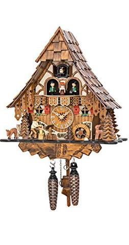 Quartz Cuckoo Clock Black Forest house with moving wood chop