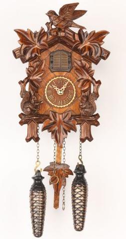 Trenkle Quartz Cuckoo Clock 5 leaves, bird, with music TU 37