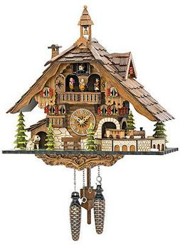 Quartz Cuckoo Clock Black Forest House with Moving Train wit