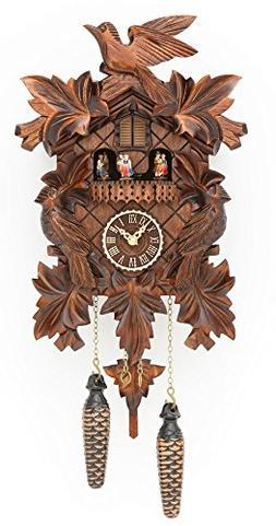 Trenkle Quartz Cuckoo Clock with Music 7 Leaves, 3 Birds TU