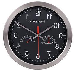 "Moonsteps 12"" Quartz Silent Metal Frame Digital Wall Clock N"