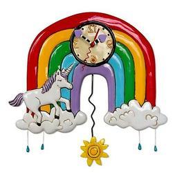Allen Designs Rainbows and Unicorns and Sun Pendulum Wall Cl