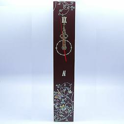 Red clock stand decorated with mother of pearl inlay tendril