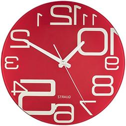 Bernhard Products Red Glass Wall Clock 12-Inch Silent Non Ti