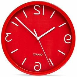 Bernhard Products Red Wall Clock 8 Inch Silent Non Ticking,