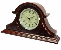 Bedford Redwood Oak Finish Tambour Mantel Desk Shelf Clock w