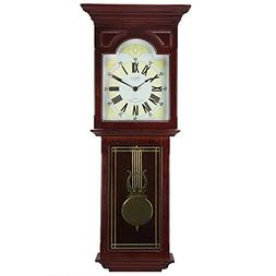 "Bedford Clock Collection Redwood 23"" Wall Clock with Pendulu"