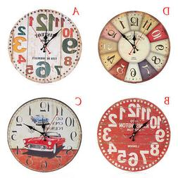 Retro 12-hour Display 3D Watch Wooden Printed Wall Clock Liv