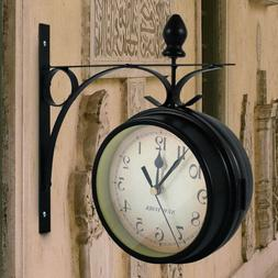 Retro Double-Side Metal Hanging Wall Mount Clock Battery Pow
