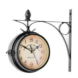 Retro Double Side Metal Hanging Wall Mount Clock Battery Pow