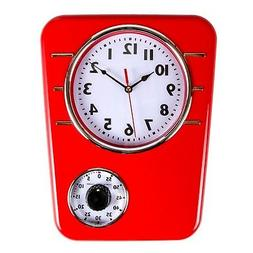 Retro Kitchen Clock with Timer. by Lily's Home