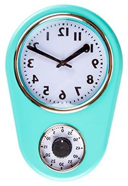 Retro Kitchen Timer Wall Clock, Torquise. By Lily's Home