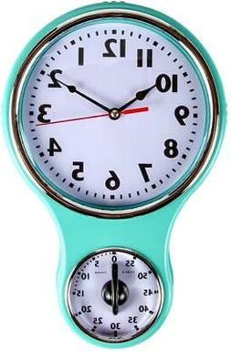 Retro Kitchen Timer Wall Clock, Bell Shape - Turquoise