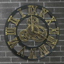 Retro Large Wall Clock Giant 3D Roman Numeral Gear Silent Ou