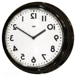 "Bai Retro Modern 12"" Round Wall Clock, Black"