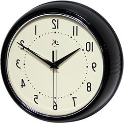Infinity Instruments Retro Round Metal Wall Clock, Black , N