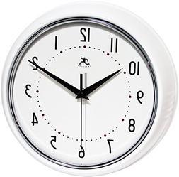 Infinity Instruments Retro Round Metal Wall Clock White