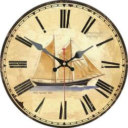 Retro Round Wooden Wall Clock Sailing Boat Ocean For Home Of