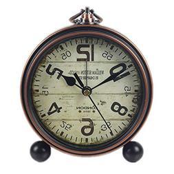 Justup Retro Table Clock, Non-Ticking Beside Table Desk Alar