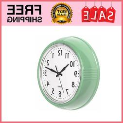 Retro Wall Clock 9.5 Inch Black Kitchen 50's Vintage Design