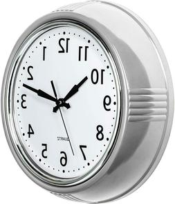 Bernhard Products Retro Wall Clock 9.5 Inch Silver Kitchen 5