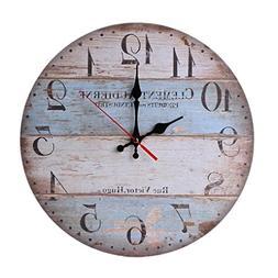 12 Inch Retro Wooden Wall Clock Farmhouse Decor,KingWo Silen