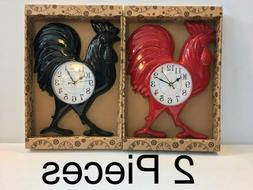 "ROOSTER WALL CLOCK 14""X11"". 2 Pieces"