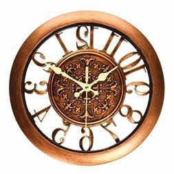 11 Inch Round Classic Clock Retro Non Ticking Quartz Decorat