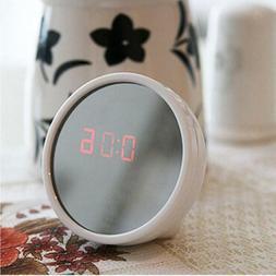 Round Digital LED Mirror Alarm Clock Table Time Bedside Cloc