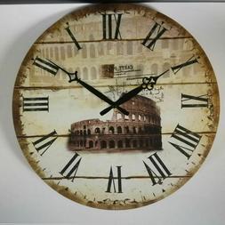 Round Retro Wall Clocks Village Room Home Shop Decor Kitchen