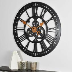 round roman gear wall clock