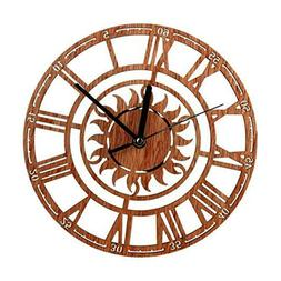 Round Sun Wood Wall Clock For Home Living Room Bedroom Offic